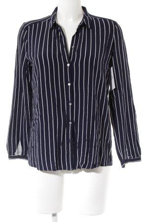 Esprit Langarm-Bluse weiß-dunkelblau Streifenmuster Casual-Look