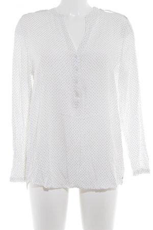 Esprit Langarm-Bluse weiß-schwarz Punktemuster Casual-Look