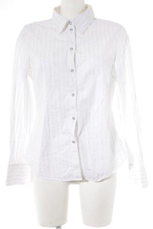 Esprit Langarm-Bluse weiß-silberfarben Streifenmuster Casual-Look