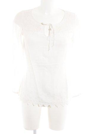 Esprit Langarm-Bluse weiß Spitzen-Optik