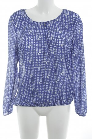 Esprit Langarm-Bluse wollweiß-blau Punktemuster Business-Look