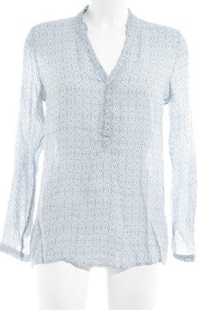 Esprit Langarm-Bluse wollweiß-stahlblau abstraktes Muster Boho-Look