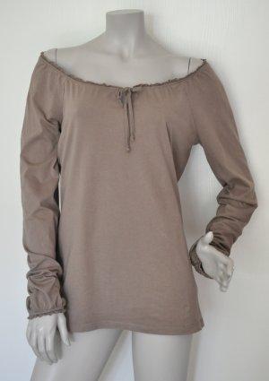 Esprit Langarm Shirt Carmenshirt Baumwolle taupe Gr. L