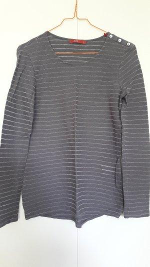 Esprit Langarm Shirt mit Glitzerfäden Leinen-Baumwolle dunkelgrau Gr. S