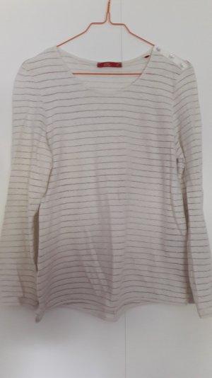 Esprit Langarm Shirt mit Glitzerfäden Leinen-Baumwolle wollweiß Gr. S