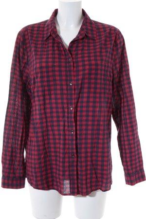 Esprit Langarmhemd rot-dunkelblau Karomuster Casual-Look
