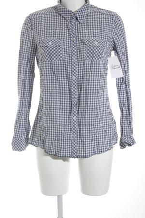 Esprit Langarmhemd weiß-blau Karomuster Casual-Look