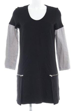 Esprit Langarmkleid schwarz-weiß Allover-Druck Casual-Look