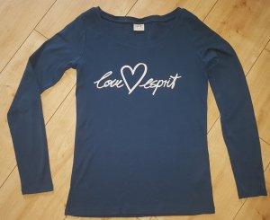 "Esprit Langarmshirt Sweatshirt Longsleeve Spruch ""Love Esprit"" Herz Blau S 36"
