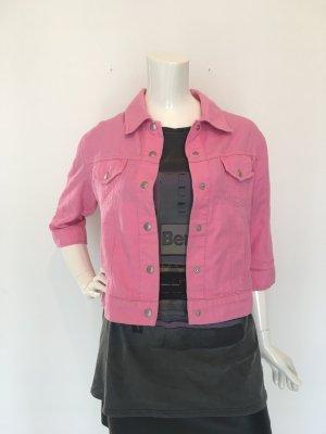Esprit large weich Jeansjacke denim Jacke jacket cropped crop kurz Dreiviertel Arm rosa pink Brusttaschen Knöpfe bequem Baumwolle