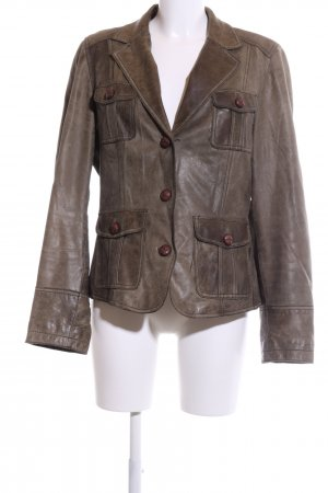 Esprit Leather Blazer brown wet-look