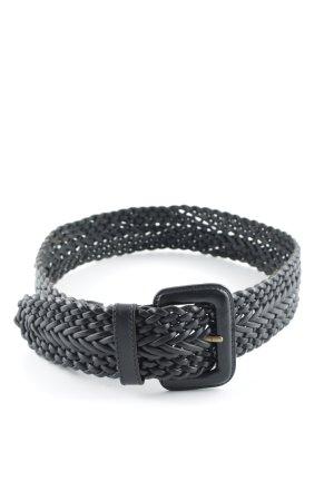 Esprit Leather Belt black cable stitch Braided Details