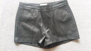 Esprit Lederhose Shorts schwarz Leder Hose Größe M 36/38 NEU