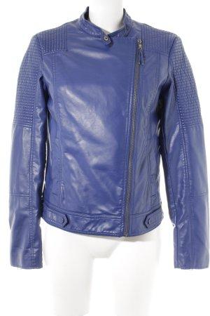 Esprit Lederjacke blau Biker-Look