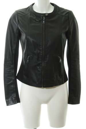 Esprit Veste en cuir noir style décontracté