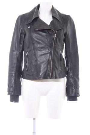 Esprit Lederjacke schwarz klassischer Stil