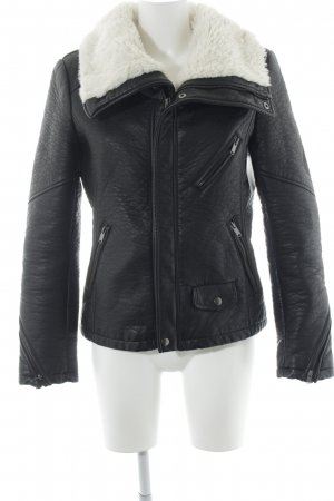 Esprit Leather Jacket black-silver-colored casual look