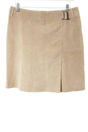 Esprit Falda de cuero beige estilo clásico