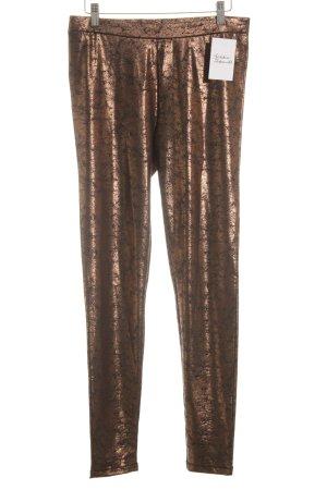 Esprit Leggings color bronce-negro estampado con diseño abstracto