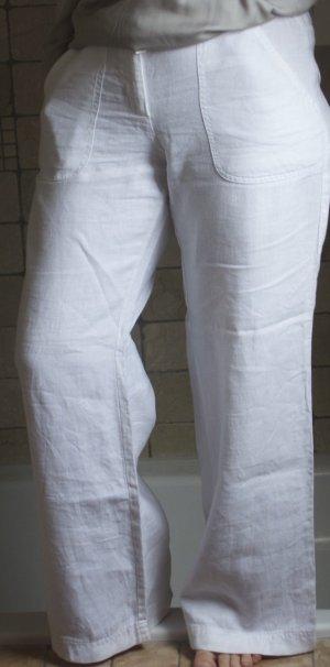 ESPRIT, Leinenhose, Marlenehose, weites Bein, Originallänge, 100% Leinen, aufgesetzte Taschen, normale Bundhöhe mit Bündchen, weiß, weit und luftig, neuwertig, wie NEU Gr. 38, Gr. M
