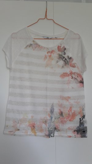 Esprit lockeres Shirt kurzarm gestreift Leinen-Mix Blumenprint creme beige Gr. S