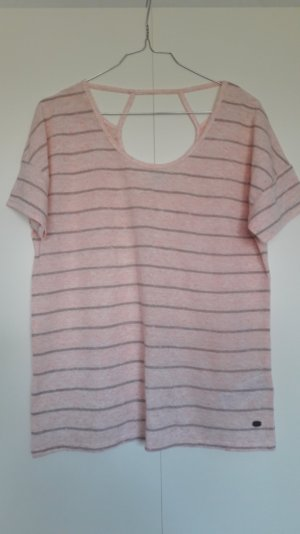 Esprit lockeres Shirt kurzarm gestreift Leinen-Mix Print Gr. S