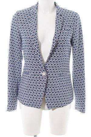 Esprit Long-Blazer blau-weiß abstraktes Muster Casual-Look