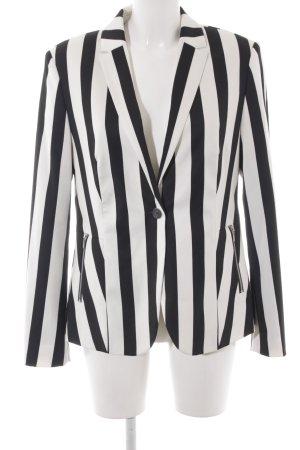 Esprit Long-Blazer schwarz-weiß Streifenmuster extravaganter Stil