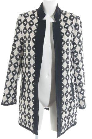 Esprit Blazer long noir-blanc cassé imprimé abstrait style décontracté