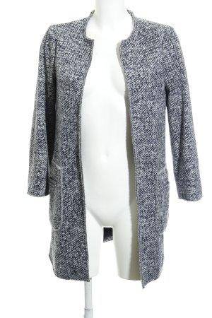 Esprit Long-Blazer weiß-dunkelblau Fischgrätmuster Casual-Look