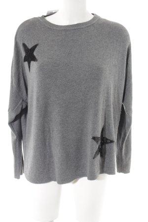 Esprit Longpullover grau-schwarz abstraktes Muster Casual-Look