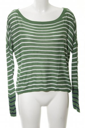 Esprit Longsleeve grün-weiß Streifenmuster Casual-Look