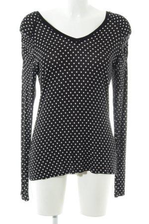 Esprit Longsleeve schwarz-weiß Punktemuster Casual-Look