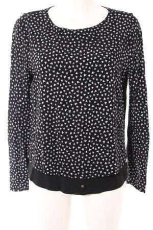 Esprit Longsleeve schwarz-weiß abstraktes Muster Business-Look