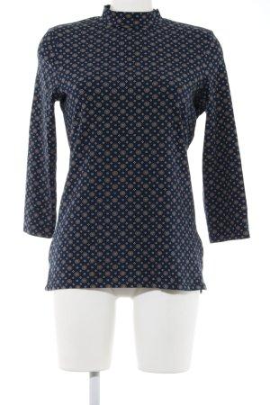 Esprit Longsleeve blau-braun grafisches Muster Casual-Look