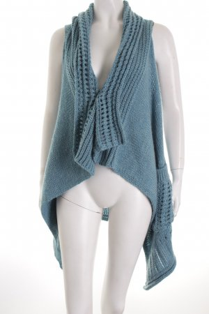 Esprit Long Knitted Vest light blue-light grey loosely knitted pattern