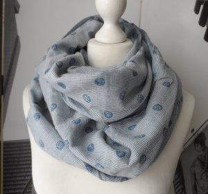 ESPRIT Loop Schal aus Baumwolle Blau mit Punkten 1 x getragen