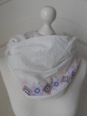 ESPRIT LOOP Schal Weiß mit Stickerei wenig getragen