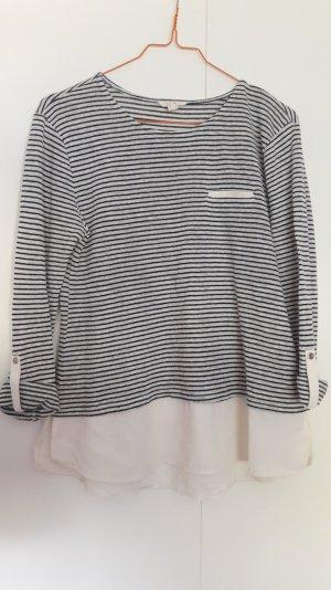 Esprit Material-Mix Shirt Langarm krempelbar gestreift weiß schwarz Gr. S