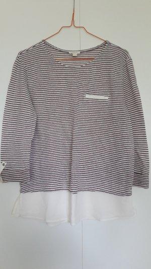 Esprit Material-Mix Shirt Langarm krempelbar gestreift weiß weinrot Gr. S