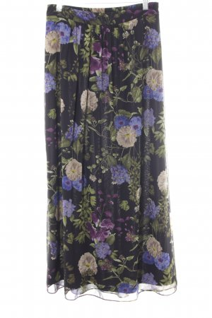 Esprit Maxi Skirt black-green flower pattern romantic style