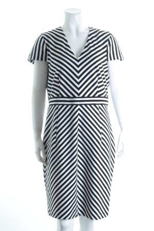Esprit Midikleid weiß-schwarz Streifenmuster Business-Look