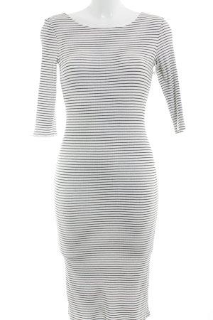 Esprit Midikleid weiß-schwarz Streifenmuster Casual-Look