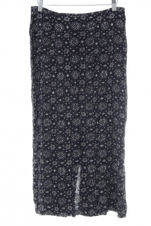 Esprit Midirock dunkelviolett-weiß florales Muster