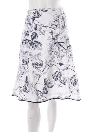 Esprit Midirock weiß-dunkelblau florales Muster klassischer Stil