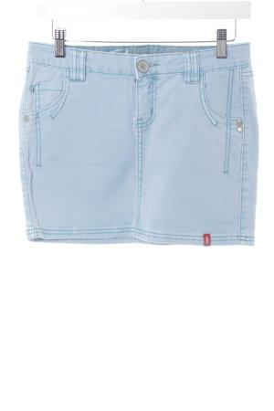 Esprit Minirock hellblau Monogram-Muster Jeans-Optik