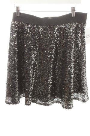 Esprit Minirock schwarz-silberfarben Glitzer-Optik
