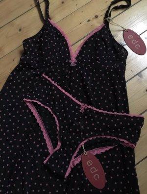 Esprit Nachtkleid Set mit Panty mit Herzen schwarz Pink hoher Neupreis