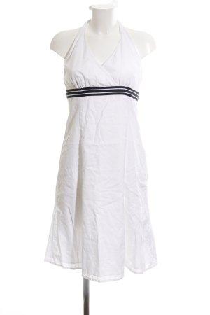 Esprit Vestido de cuello Halter blanco-negro estampado a rayas look casual