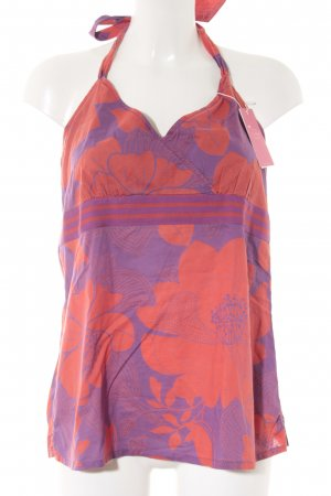 Esprit Neckholdertop rot-lila florales Muster Casual-Look